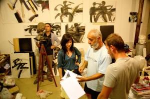 Jeton, Koli and Zorica at Nove's studio in Skopje © Pavlina Chakarova